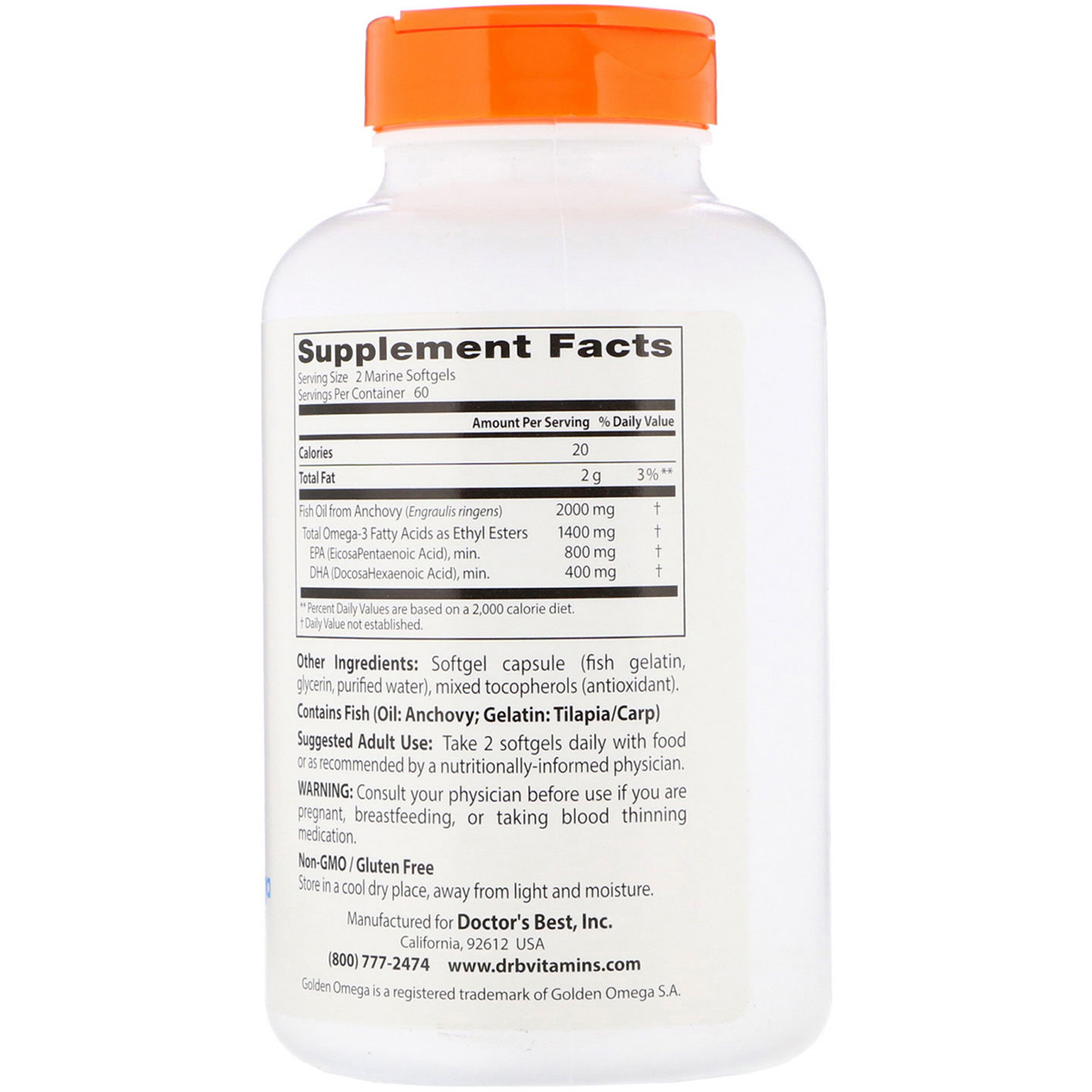 Рыбий жир Омега-3, Doctor's Best, Omega 3 Fish Oil with Goldenomega, 1000 мг, 120 капсул