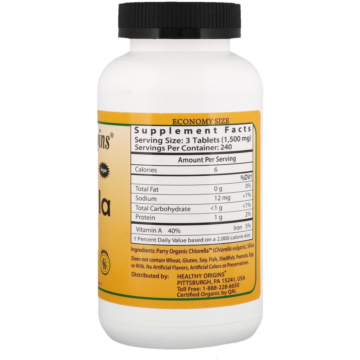 Органическая Хлорелла 500мг, Healthy Origins, 180 таблеток